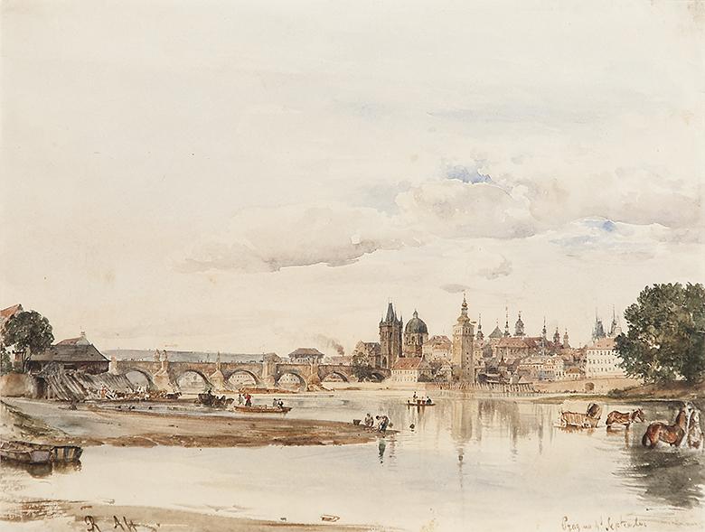 Alt Rudolf von - Pohled na Karlův most